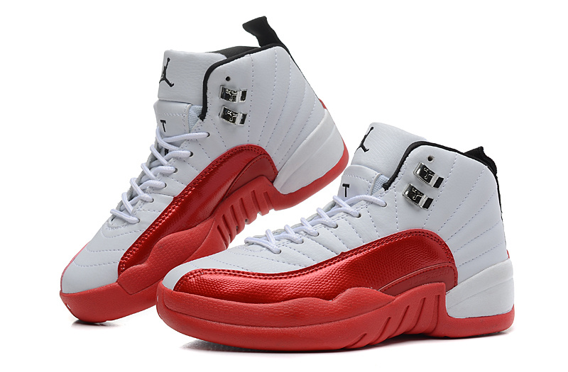 Air Jordan 12 White Red For Women