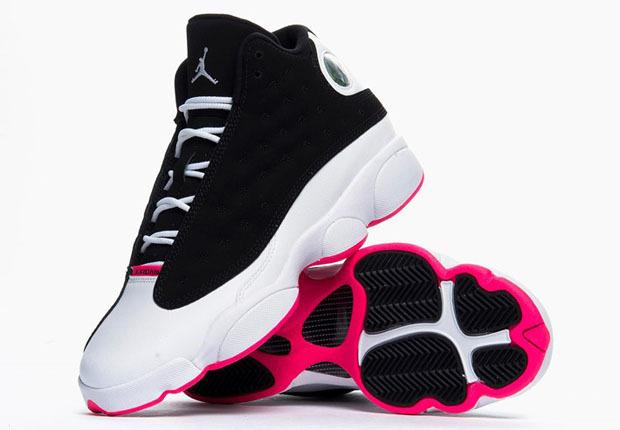 Air Jordan 13 Chaussures Pour Femmes De Fourrure Noire  / Fond Rose