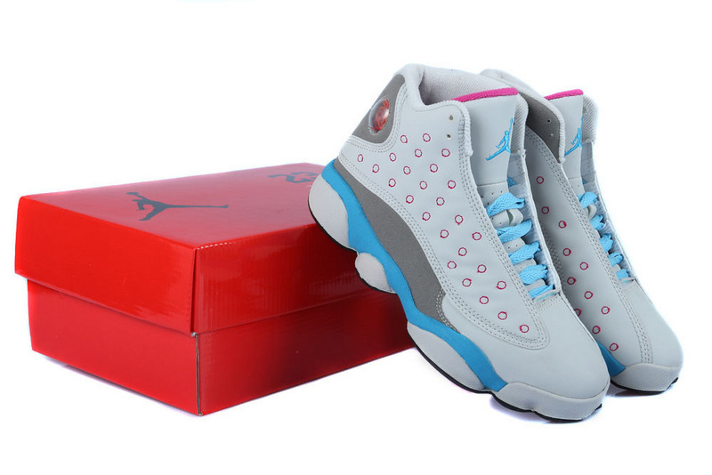 Air Jordan 13 GS Miami Vice White Grey Light Blue For Women