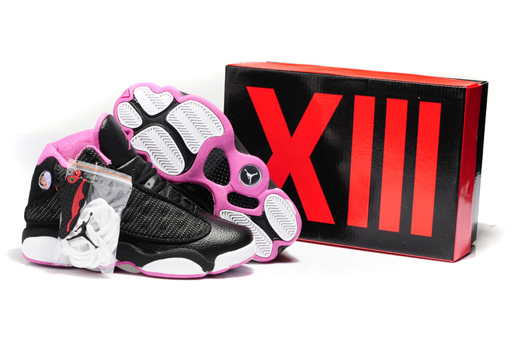 Air Jordan 13 Hardback Black Pink White Shoes