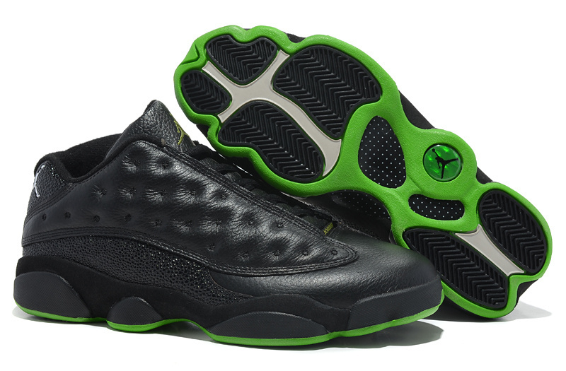 New Arrival Jordan 13 Low Black Green Shoes
