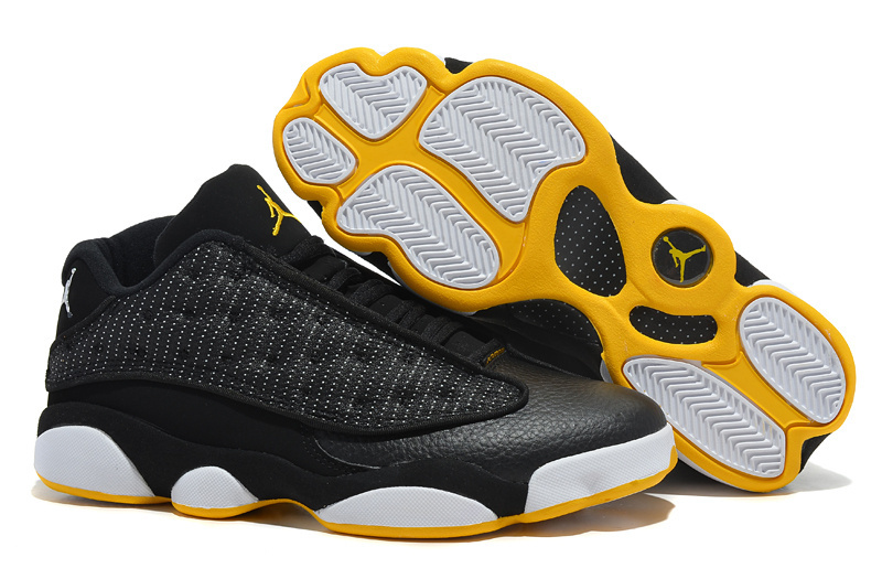 New Arrival Jordan 13 Low Black White yellow Shoes