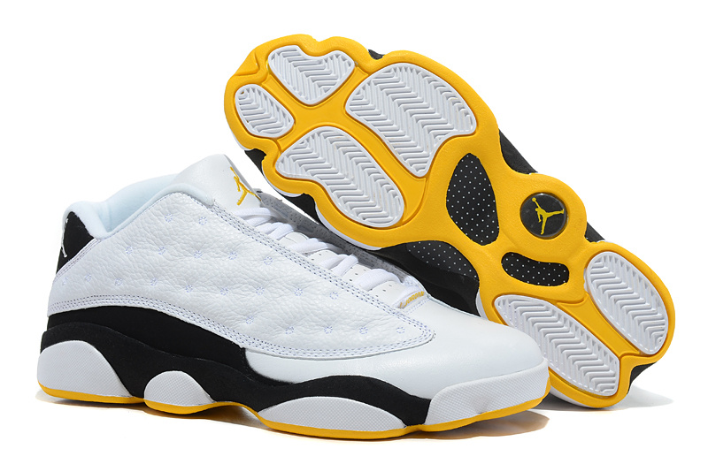 New Arrival Jordan 13 Low White Black Yellow Shoes