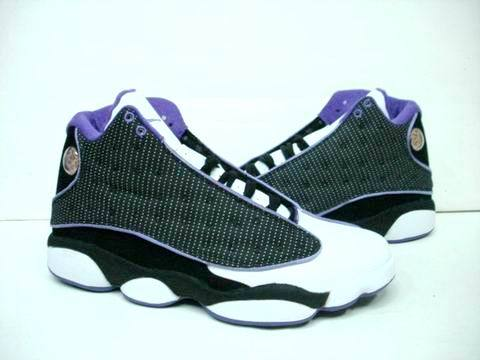 Classic Air Jordan 13 Black White Purple