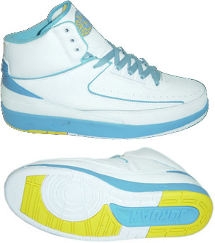 Jordan 2 Retro White Light Blue Yellow Chrome