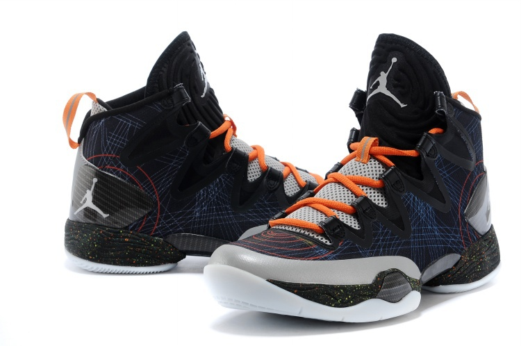 Air Jordan 28 SE Grey Black Grey Orange Shoes