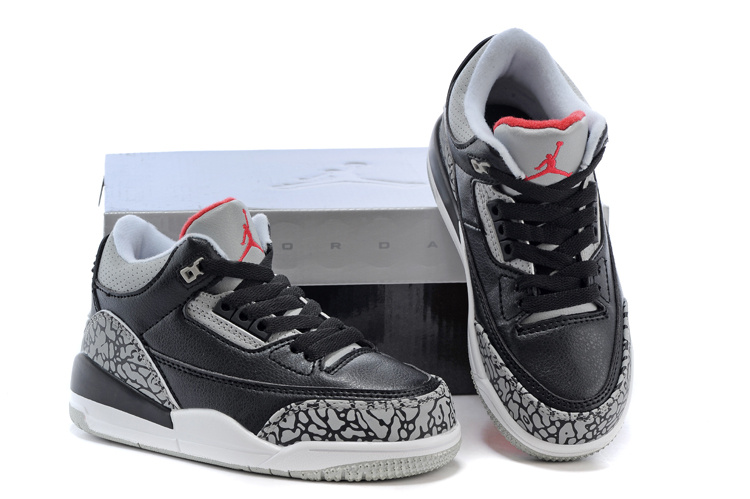 Air Jordan 3 Black Cement Grey Red Shoes For Kids