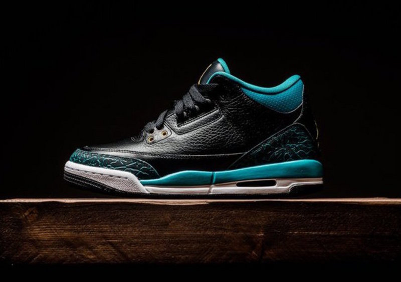 Air Jordan 3 Black Gold Rio Teal Black Blue Shoes For Women