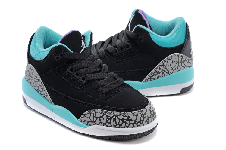 Air Jordan 3 Black Grey Jade Blue Shoes For Kids