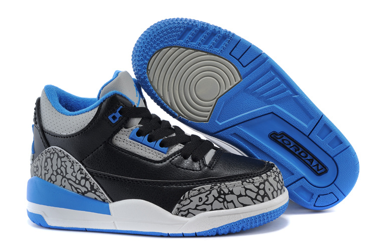 Air Jordan 3 Black Royal Blue Shoes For Kids