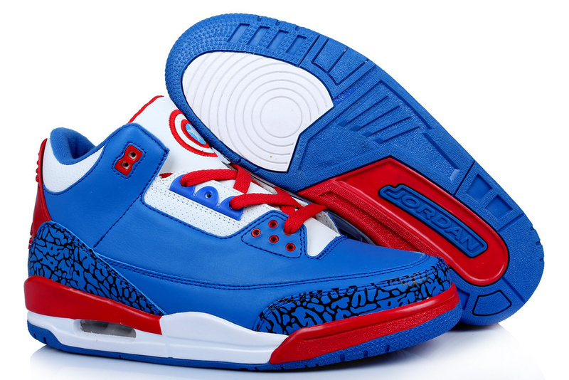 New Arrival Jordan 3 Captain America Edition Blue White Red Shoes