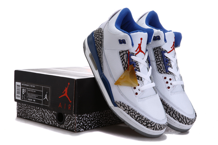 Air Jordan 3 Chalcedoney Edition White Blue Grey