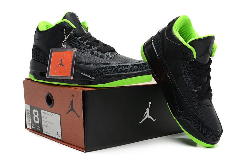2013 Jordan 3 Hardback Black Green Shoes