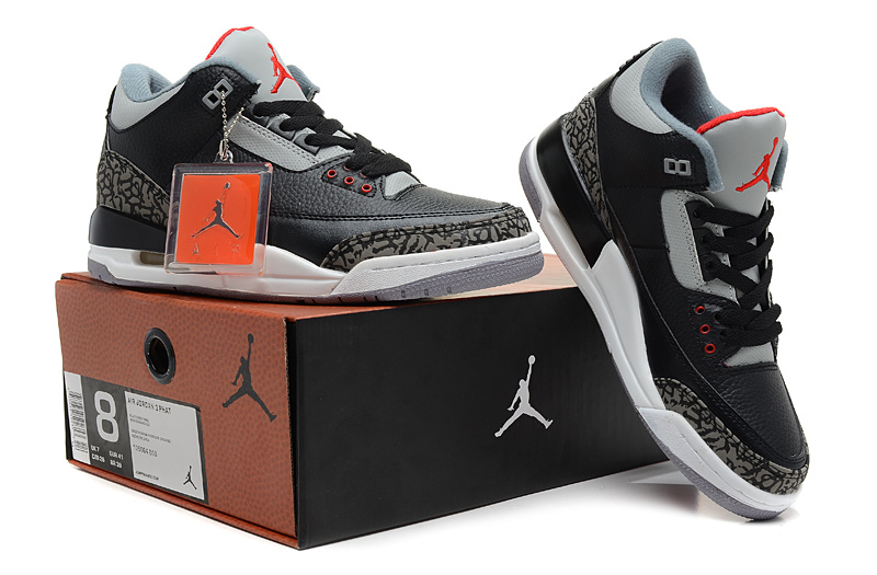 2013 Jordan 3 Hardback Black Grey Cement Shoes