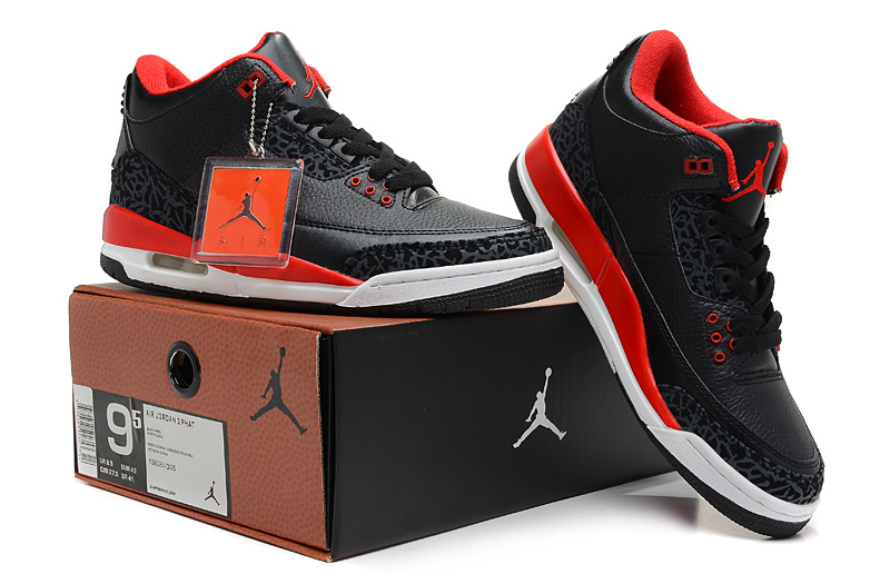 2013 Jordan 3 Hardback Black Red White Shoes