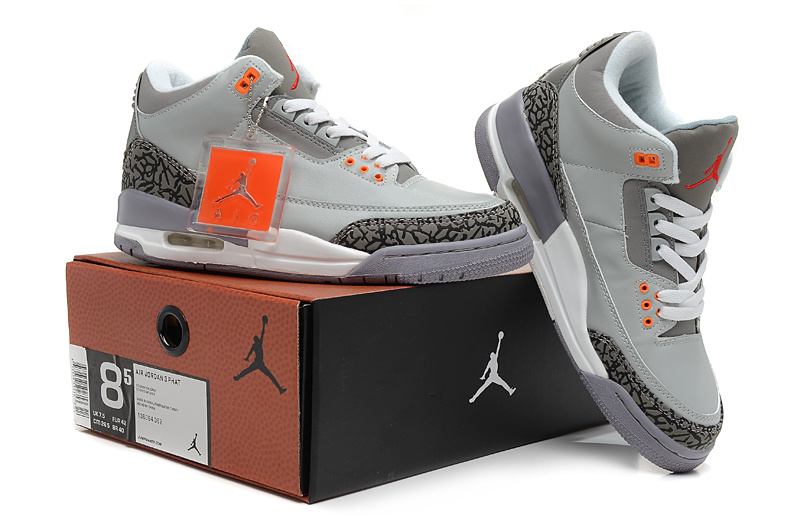 2013 Jordan 3 Hardback Grey White Shoes