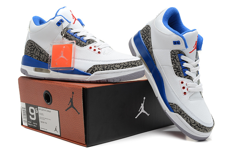2013 Jordan 3 Hardback White Blue Shoes