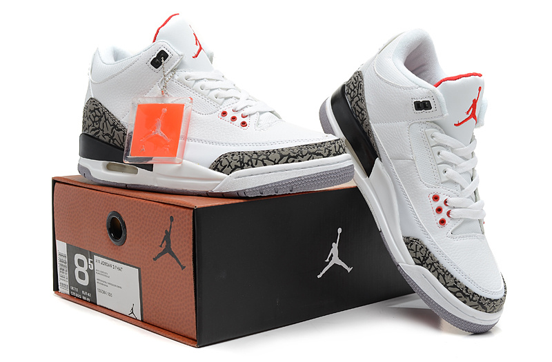 2013 Jordan 3 Hardback White Grey Red Shoes