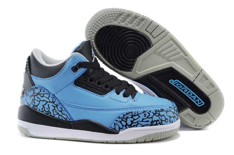Air Jordan 3 Royal Blue Black Shoes For Kids