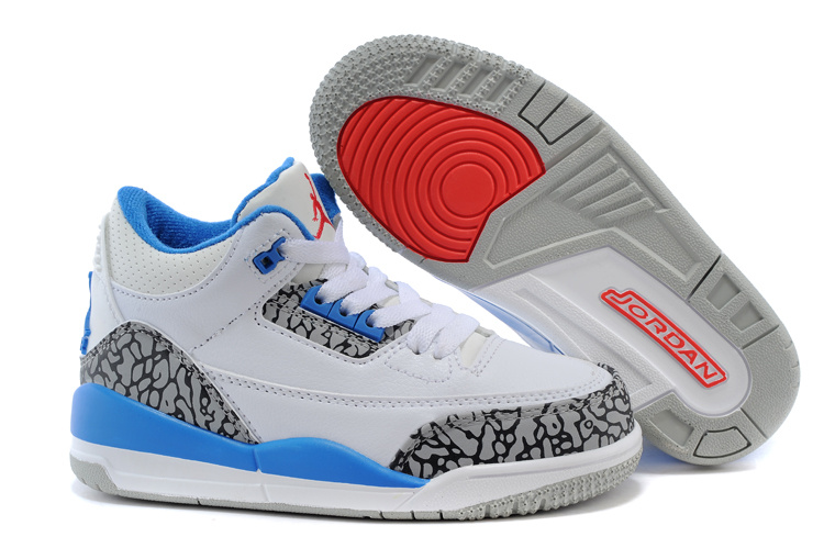 Air Jordan 3 White Cement Grey Blue Shoes For Kids