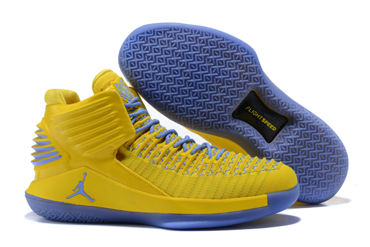 Air Jordan 32 Yellow Grey Blue Shoes