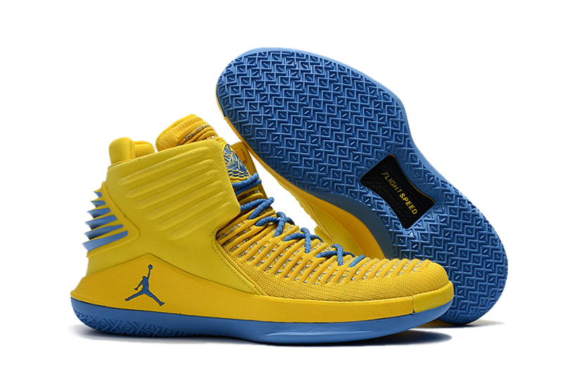 Air Jordan 32 Yellow Jade Blue Shoes
