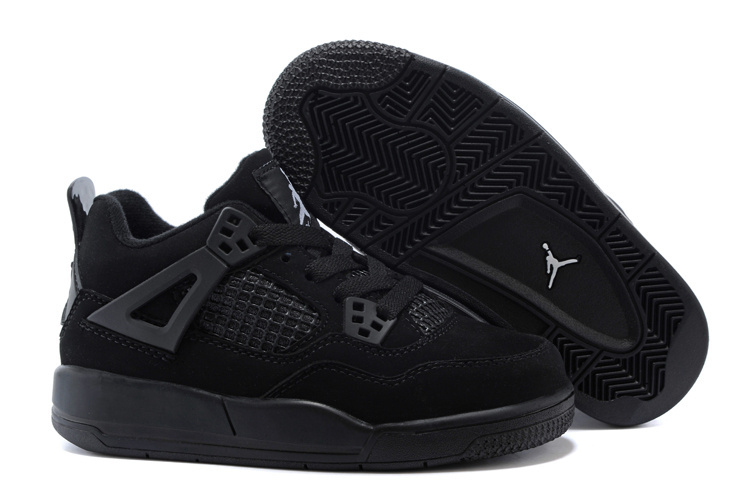 Air Jordan 4 All Black Shoes For Kids