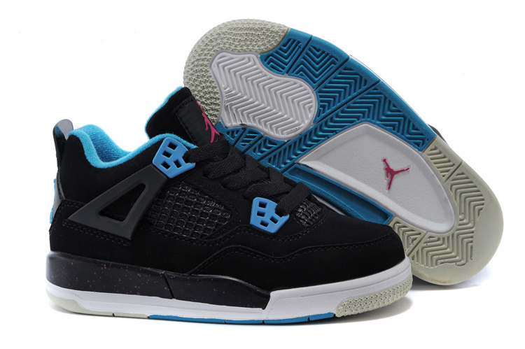 Air Jordan 4 Black Blue Shoes For Kids
