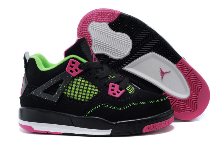 Air Jordan 4 Black Peach Green Shoes For Kids