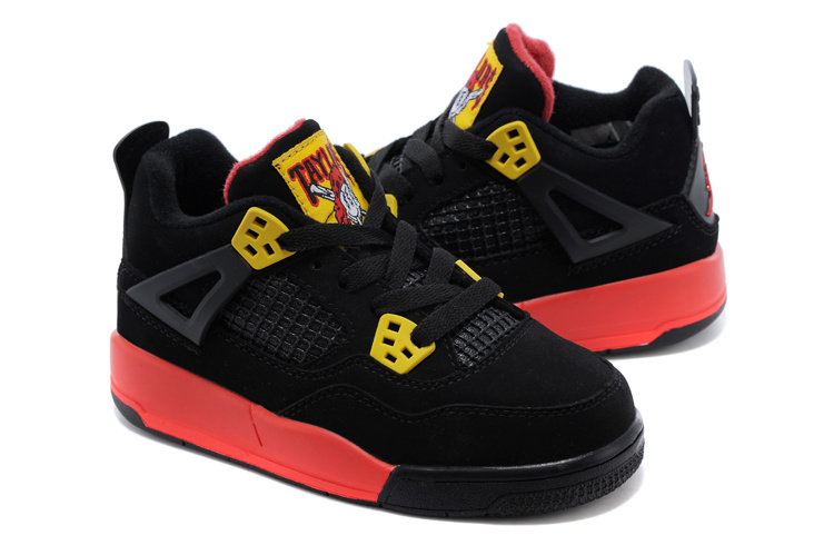 Air Jordan 4 Black Yellow Red Shoes For Kids