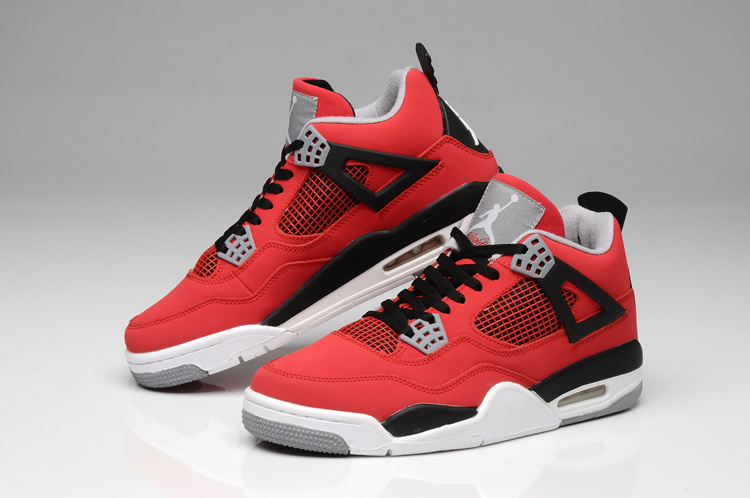Air Jordan 4 Bulls Colors Red White Black Shoes
