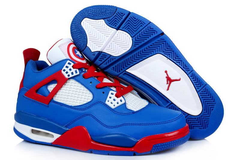 New Arrival Jordan 4 Captain America Edition Blue White Red Shoes