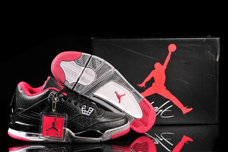 Air Jordan 4 Fish Pattern Black Red Shoes