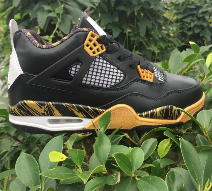 Air Jordan 4 Gold Medal Black Yellow Shoes