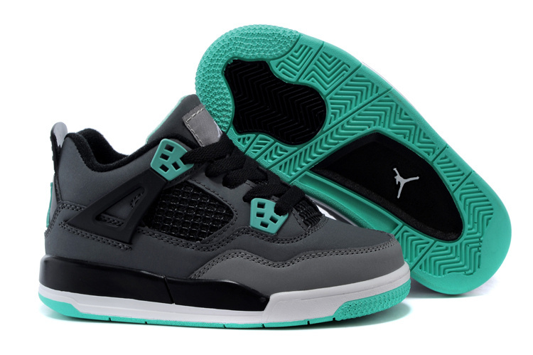 Air Jordan 4 Grey Black Green Shoes For Kids