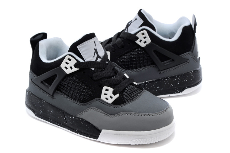 Air Jordan 4 Grey Black White Shoes For Kids