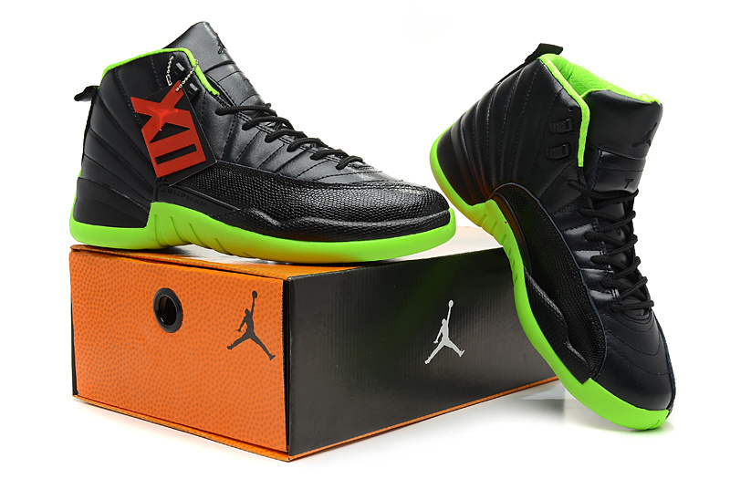 2013 Jordan 12 Hardback Black Green Shoes