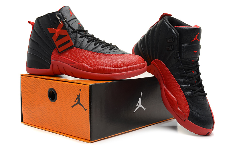 2013 Jordan 12 Hardback Black Red Shoes