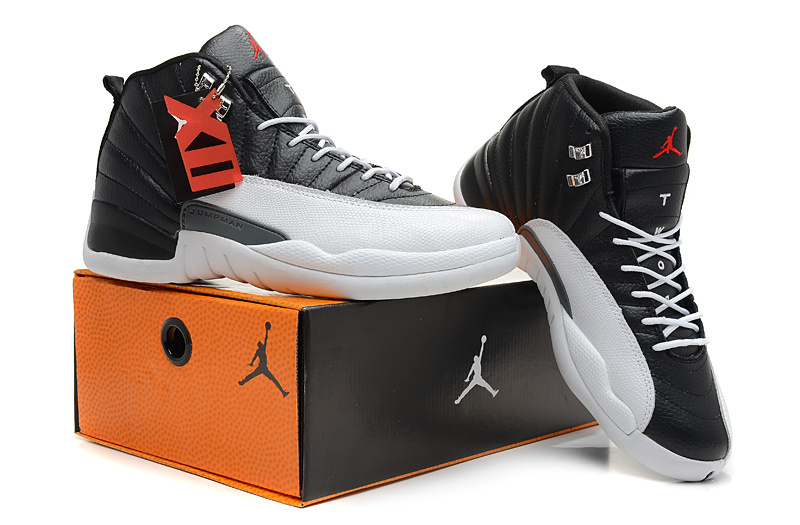 2013 Jordan 12 Hardback Black White Shoes