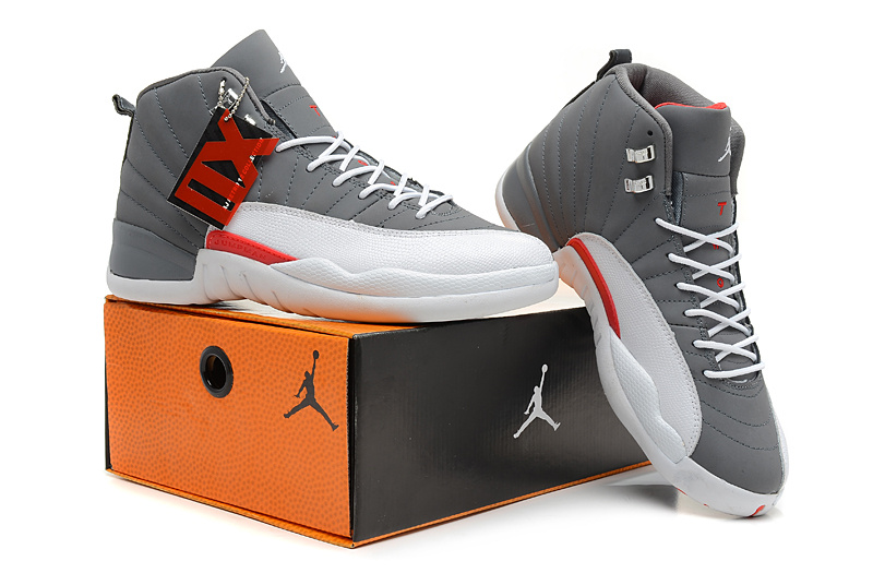 2013 Jordan 12 Hardback Grey White Shoes