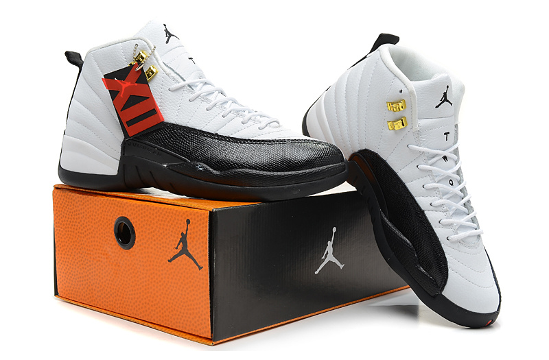 2013 Jordan 12 Hardback White Black Shoes