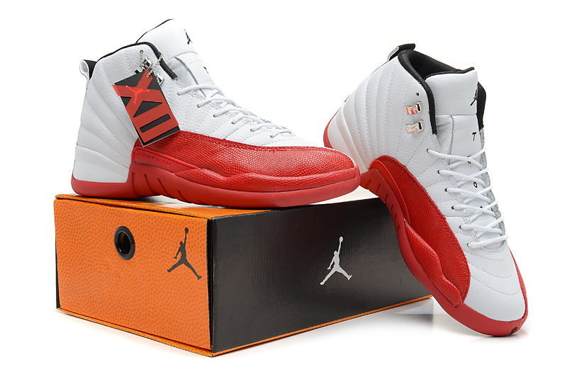 2013 Jordan 12 Hardback White Red Shoes