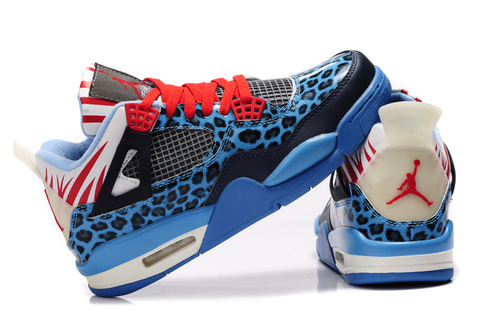 Women Air Jordan 4 Leopard Print Blue Black White Red Shine Shoes