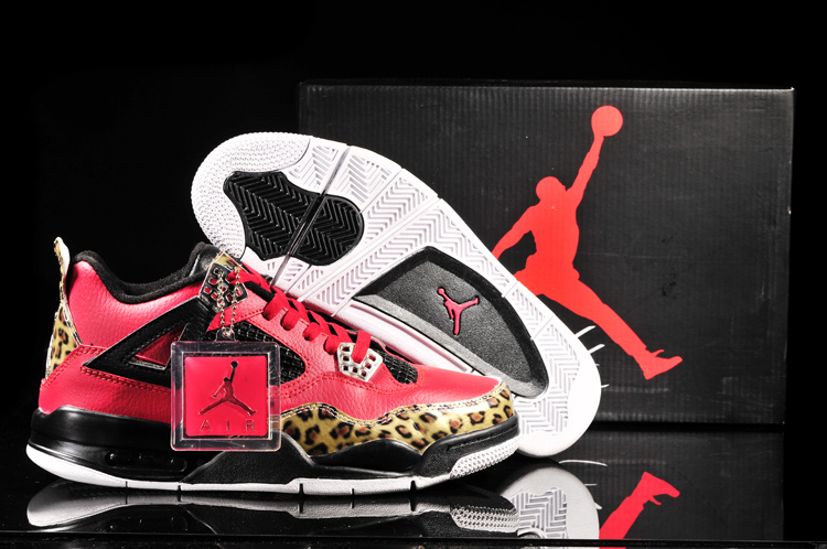 Air Jordan 4 Leopard Print Limited Edition Red Black Shoes