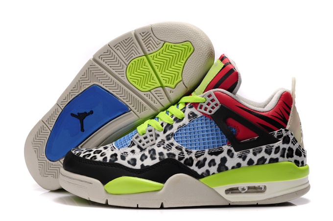 Women Air Jordan 4 Leopard Print White Black Green Red Shine Shoes