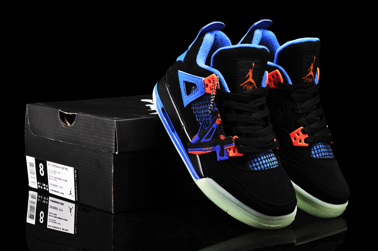 New Arrival Jordan 4 Midnigh Black Blue Orange For Women