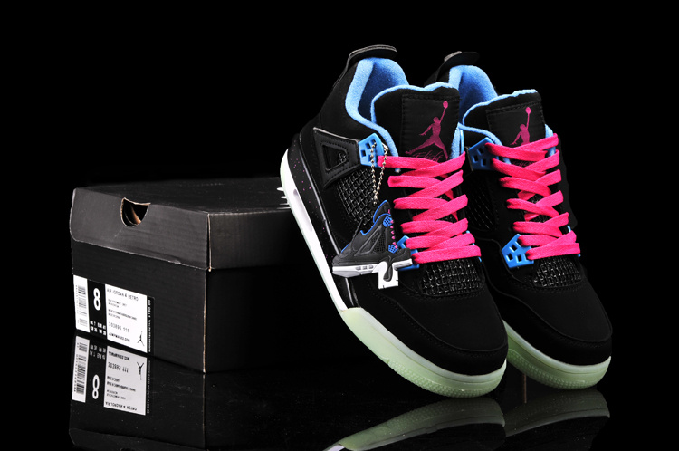 New Arrival Jordan 4 Midnigh Black Pink Blue For Women