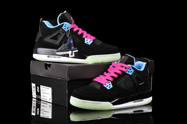 New Arrival Jordan 4 Midnigh Black Pink Blue For Women