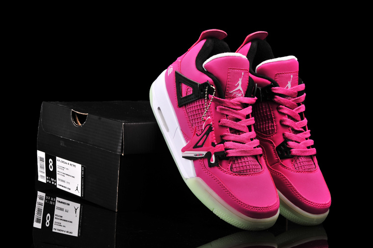 New Arrival Jordan 4 Midnigh Pink Black White For Women