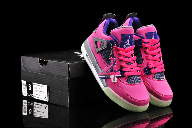 New Arrival Jordan 4 Midnigh Red Black Blue For Women